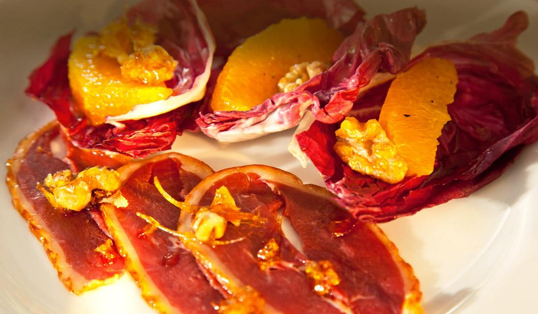Geräucherte Gänsebrust mit Orangen-Filets & Walnußöl